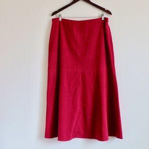 JM Collection Cranberry A line Stretch Maxi Skirt
